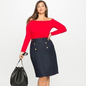 ELOQUII| Nautical A-Line Denim Skirt Sz: 28W